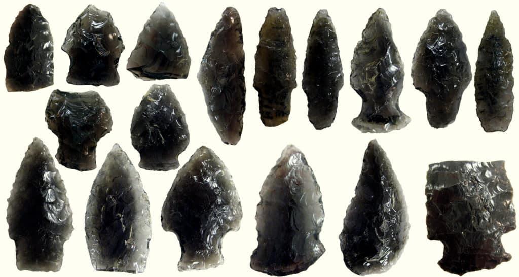 Arrowheads made from obsidian found in Alaska